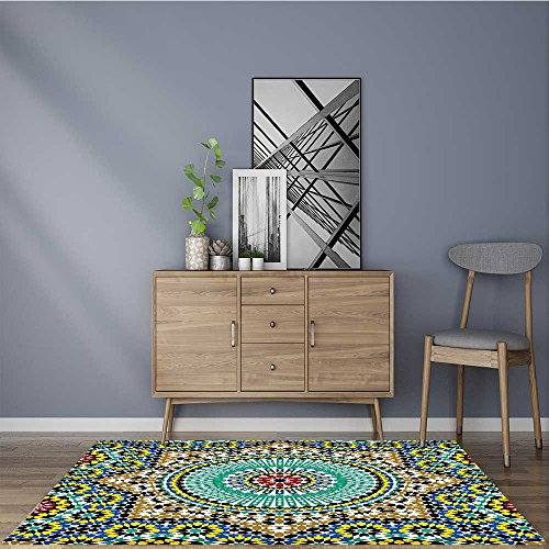 Printed floor mat Glazedative Wall Tile Ceramic Travel Destinations Khaki Blue Bath Mat Non Slip Absorbent 22''x60'' by Muyindo