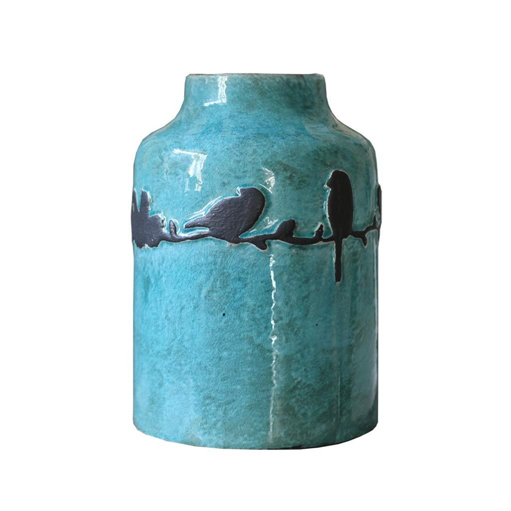 北欧鳥セラミック花瓶クリエイティブリビングルームデスクトップブルー花瓶装飾飾り結婚祝い植物フラワーアレンジメントボトル B07SBZP8FF