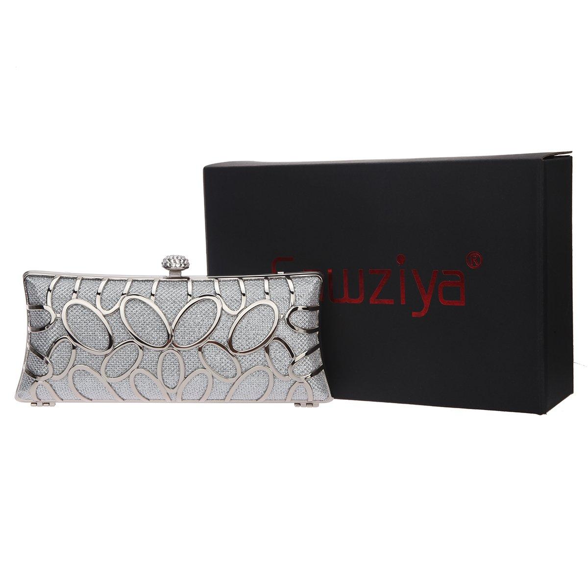 Fawziya Initials Evening Bags And Clutches Glitter Metal Hard Clutch Purses For Women CAE1693Grey