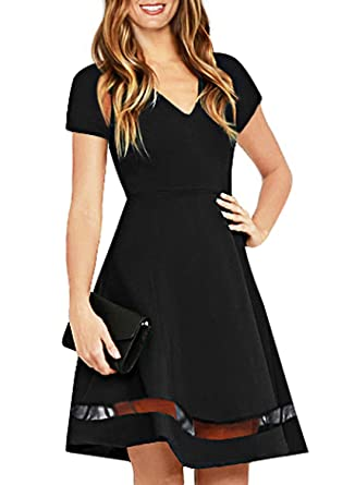 0d47569dcf394 Ranphee Womens Black Short Sleeve Cute Fit and Flare Modest Semi Formal  Skater Dress