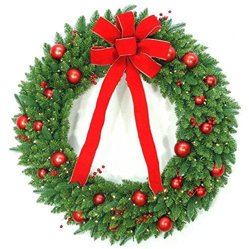 48 in. Battery Operated Mixed Fir Artificial Wreath with 200 Clear LED Lights (1) by Generic (Image #2)