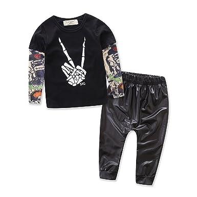 2b063275 Amazon.com: 2pcs Newborn Baby Boys Black T-shirt Tops+Leather Pants Outfits  Set: Clothing