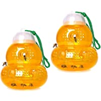 2 Pack Wasp Trap, Wasp Nest Decoy, Waterproof Hanging Fake Wasp Nest for Hornet Bees, Reusable Plastic Beehive Outdoor…
