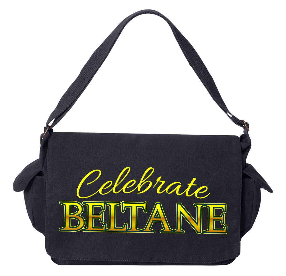 Tenacitee Celebrate Beltane Flamingo Raw Edge Canvas Messenger Bag