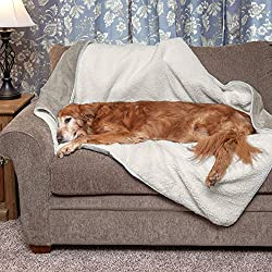 Furhaven Pet Dog Bed Blanket | Snuggly & Warm Faux Lambswool & Terry 100% Waterproof Insulated Thermal Self-Warming Pet Bed Throw Blanket for Dogs & Cats, Dove, Large