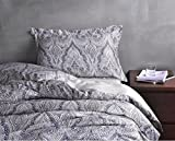 Pottery Barn Duvet Covers Luxury Boho Paisley Duvet Cover and Shams 350 Thread Count Cotton Sateen Vintage Bohemian Style Arabesque Print Slate Blue Tan Bedding 3 Piece Set (King)