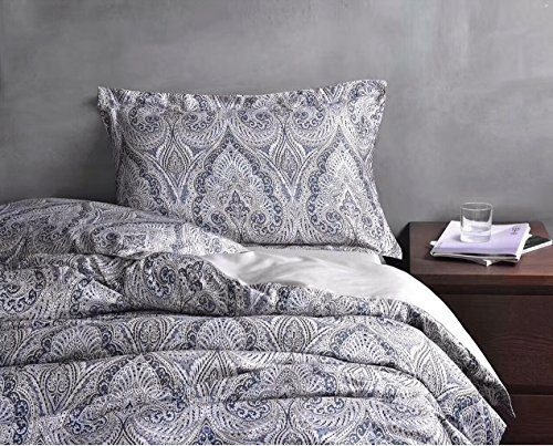 Luxurious Bohemian Duvet Cover Set 350 Thread Count Cotton Sateen Vintage Boho Style Paisley Print in Slate Blue and Tan (Queen, Blue)
