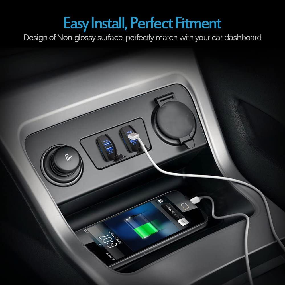 with Blue LED Light Dual USB Power Socket for Rocker Switch Panel MICTUNING Universal Rocker Style Car USB Charger