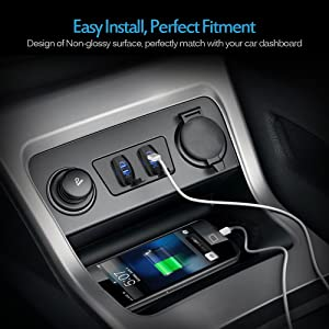 MICTUNING Universal Rocker Style Car USB Charger - with Blue LED Light Dual USB Power Socket for Rocker Switch Panel (Color: Blue)