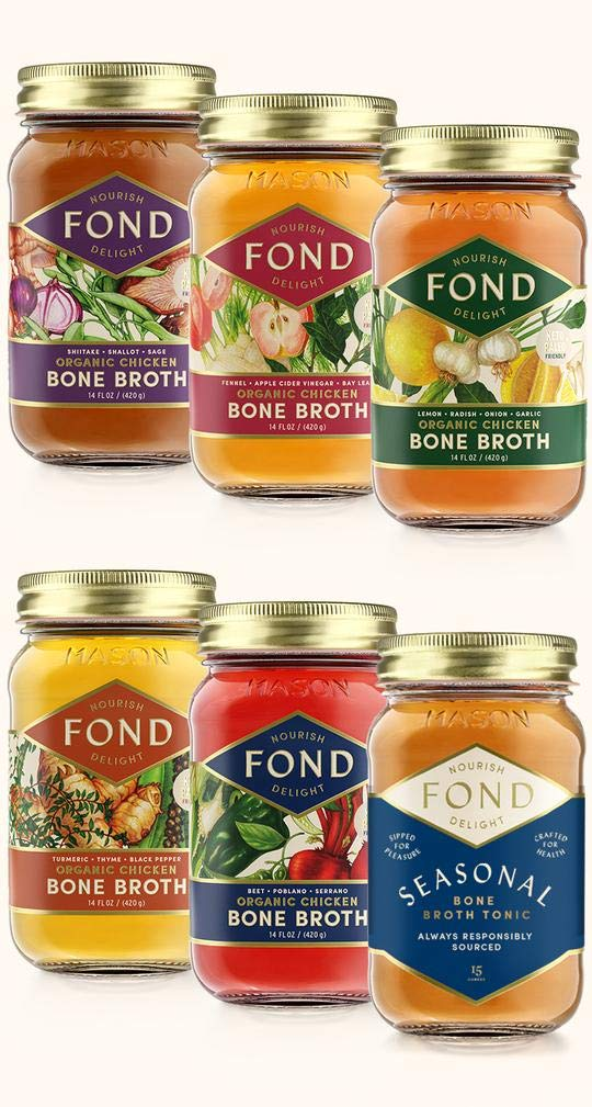 Certified Organic Chicken Bone Broth Mixed Pack - (6 Pack) Sipping Broth, Gourmet,15oz Glass Jars, 20g Protein, 0g Sugars, Low Carb, Keto, Paleo, Whole 30 Friendly
