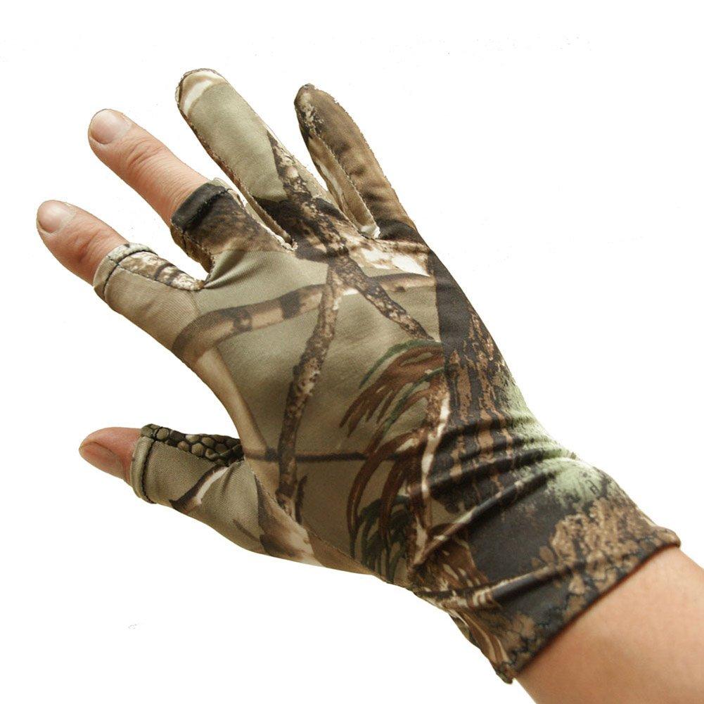 Espeedy Angeln Handschuhe Camouflage Anti-Rutsch-elastische dünne Mitten 3 Finger Cut Camping Radfahren Jagd Half-Finger Handschuhe