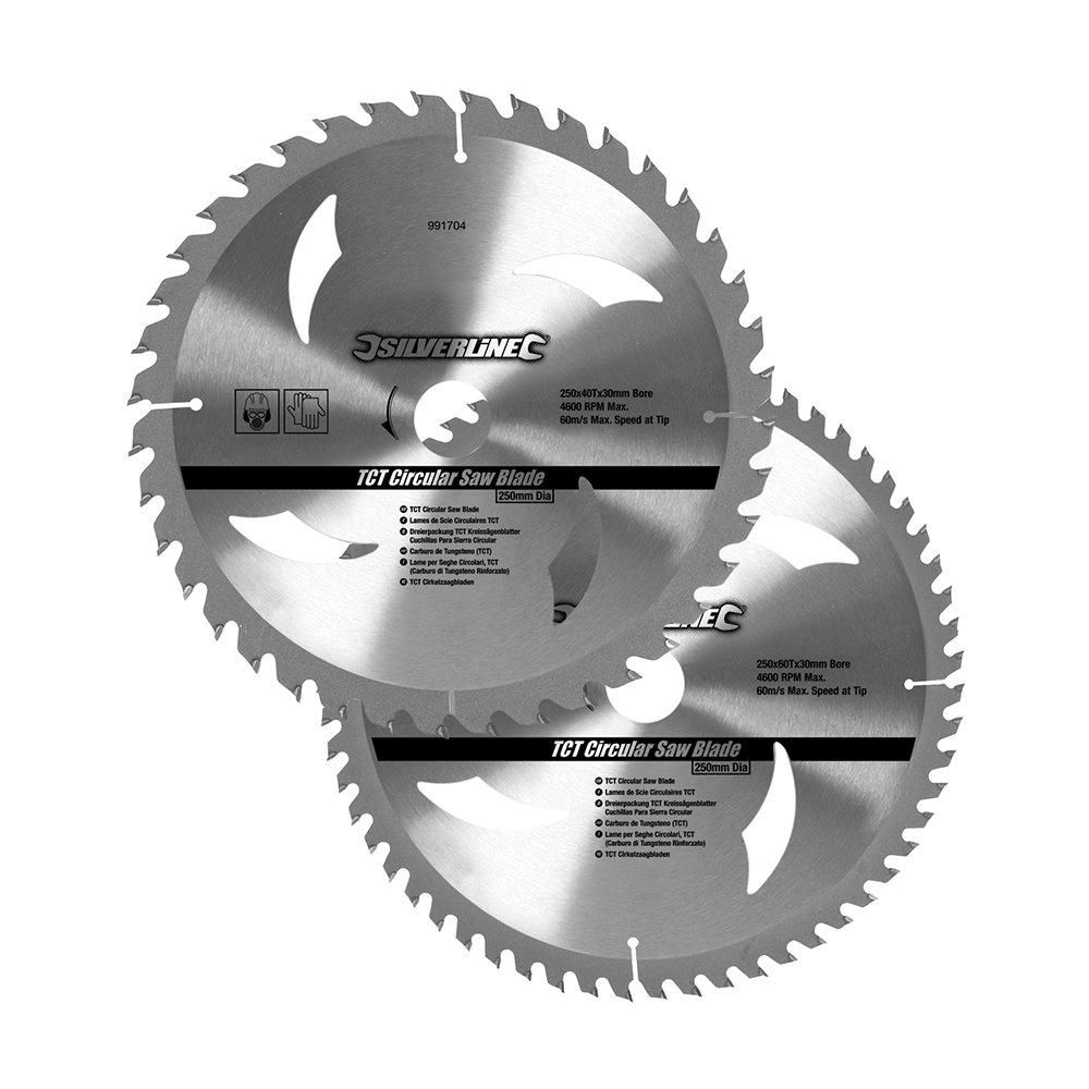 Silverline 991704 Hartmetall-Kreissä geblä tter mit 40 und 60 Zä hnen, 2er-Pckg 250 x 30, Reduzierstü cke: 25, 20 u. 16 mm Toolstream Limited - DE