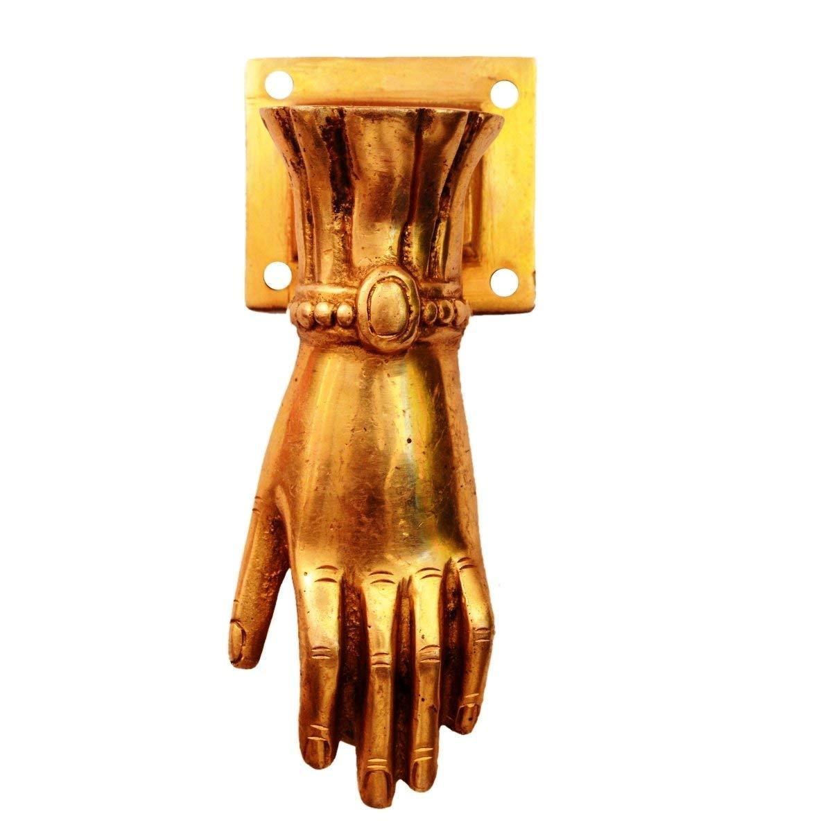 PARIJAT HANDICRAFT Door Knocker Brass Door Knocker Handle: 'Hand of God'