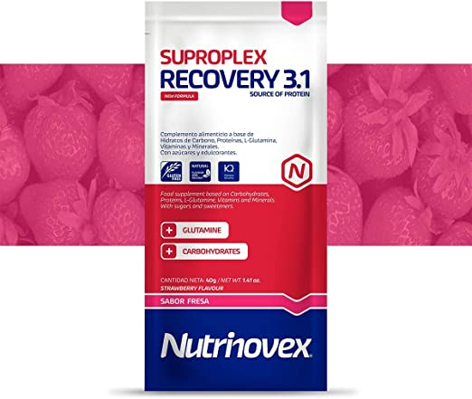 Nutrinovex Suproplex Recovery con Glutamina, Minerales y Vitaminas (Fresa, 12 sachet x 40g)