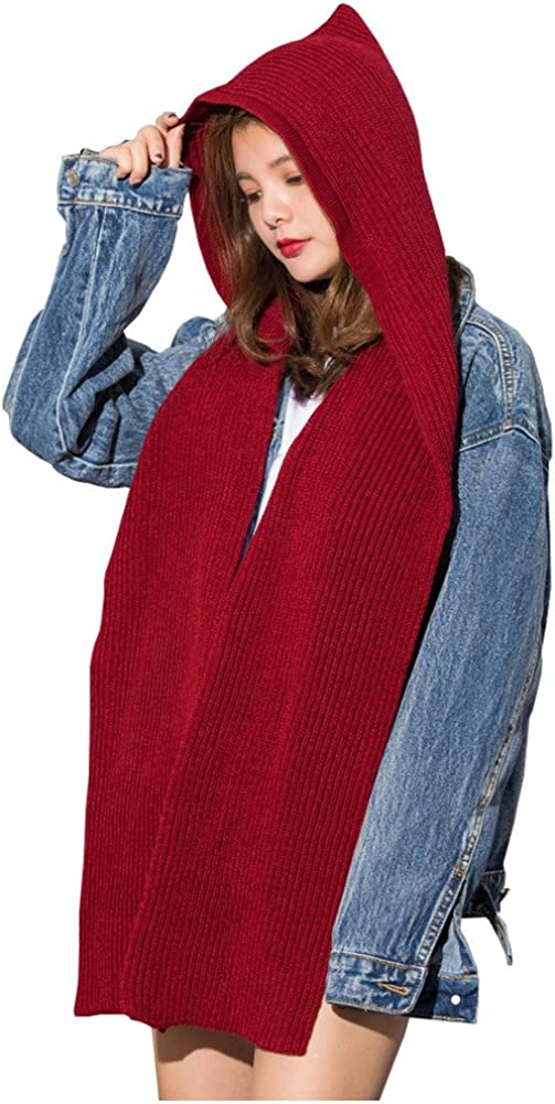 Women Winter 3 in 1 Hooded Hat Scarf Wrap Shawl Crochet Knit Pullover Neckwarmer