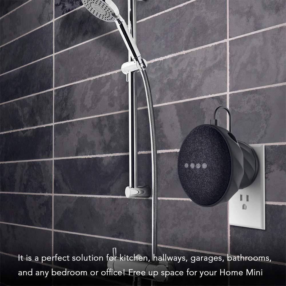 KIWI design Supporto da Silicone Wall Montaggio a Parete a Muro per Home Mini da Google Senza fili o viti Disordinati Supporto Outlet italiano 2 pacco Nero