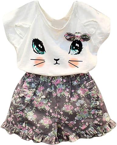 Covermason Niñas Gato Patrón Camisa y Pantalones Cortos (1 Conjunto) (3Años, Camiseta y Pantalones Cortos): Amazon.es: Ropa y accesorios