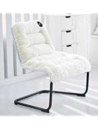 Zenree Luxury Comfortable Padded Collapsible Oversized Lounger Chair White  Sherpa Soft Cushion For Living Room Dorm