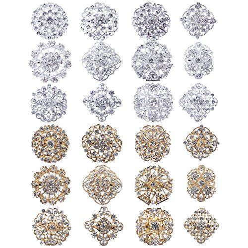Lot 24pc Clear Rhinestone Crystal Flower Brooches Pins Set DIY Wedding Bouquet Broaches Kit - Rhinestone Crystal Brooch Pin