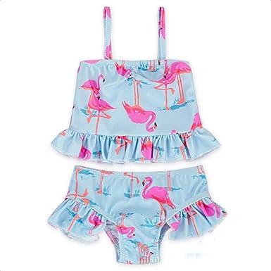 89c2e922f5 Amazon.com: Baby/Toddler Girl 2 Piece Flamingo Swimsuit Set Ruffled Kid  Bikini Swimwear: Clothing