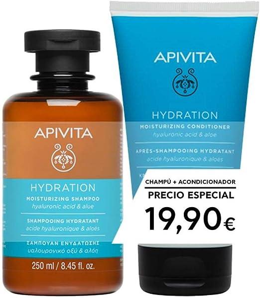 Apivita Pack Capilar Champú + Acondicionador Hidratante con ácido hialurónico & aloe 200ml: Amazon.es: Jardín