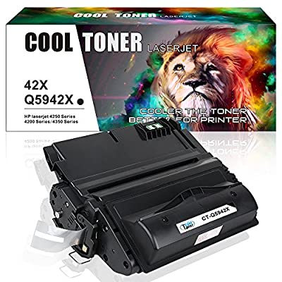 Cool Toner 1 Pack 20,000 Pages Compatible 42X Q5942X Q1338A Q5942 Toner Cartridge Replacement For LaserJet 4200 4240 4250 4250TN 4250N 4250DTN 4300 4350 4345MFP 4350N 4350TN 4350DTN Printer Ink