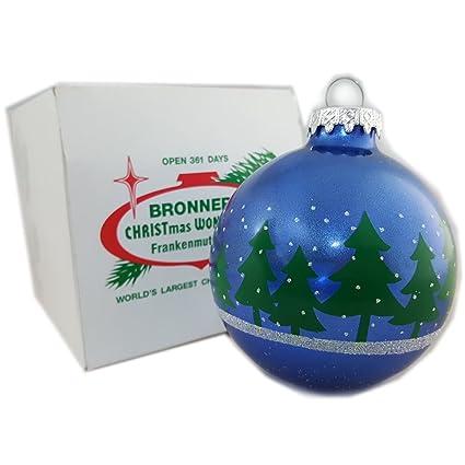 Bronners Christmas Ornaments.Amazon Com Bronner S Christmas Wonderland Blue Glass Ball