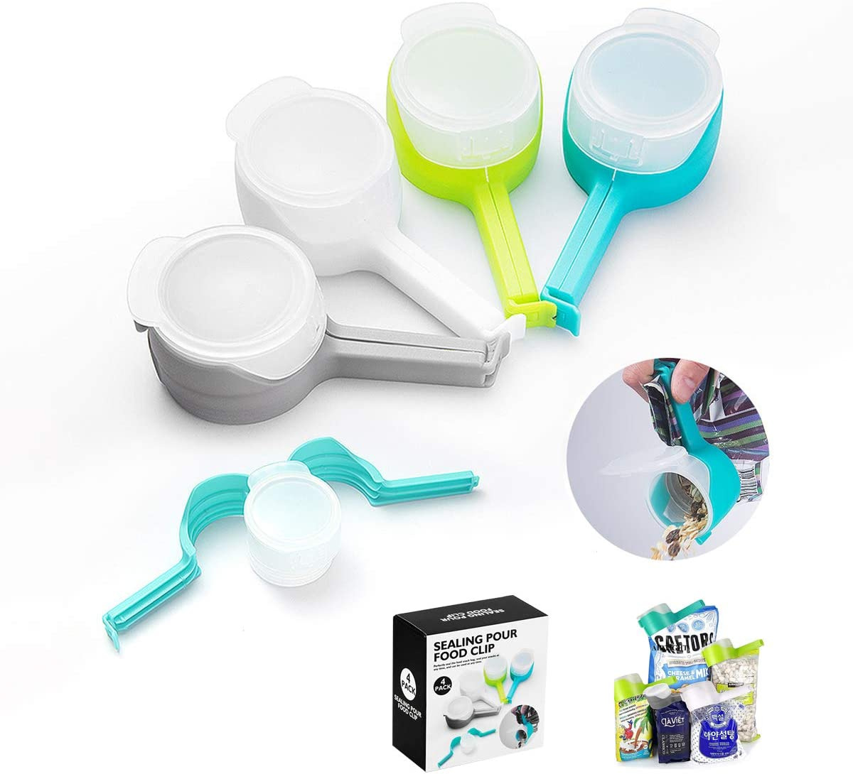 COPAAD Bag Clips for Food, Food Storage Sealing Clips with Pour Spouts, Kitchen Chip Bag Clips, Plastic Cap Sealer Clips, Pet Food Bag Clips, Great for Kitchen Food Storage and Organization, 4pcs