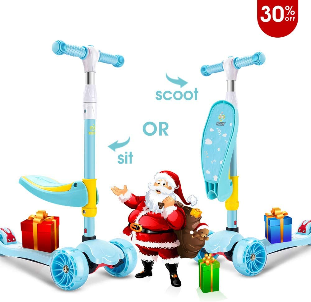 SUPER DADY Scooters for Kids Scooter Toddler for Girls Boys Children Baby Age 2-10 with Flashing 3 Wheels Foldable Kick Scooter Skateboards
