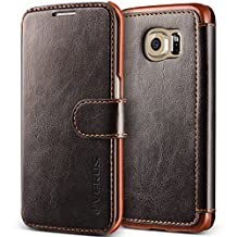 Galaxy S6 Edge Case, Verus [Layered Dandy][Coffee Brown] - [Card Slot][Premium Leather Wallet][Slim Fit] For Samsung Galaxy S6 Edge