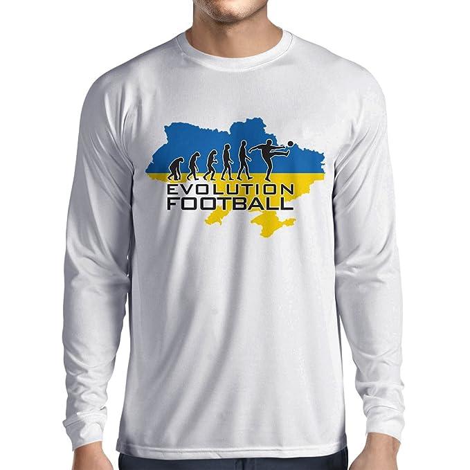 lepni.me Camiseta de Manga Larga para Hombre Evolución del Fútbol - Ucrania, Campeonato, Equipo de Fútbol Mundial: Amazon.es: Ropa y accesorios