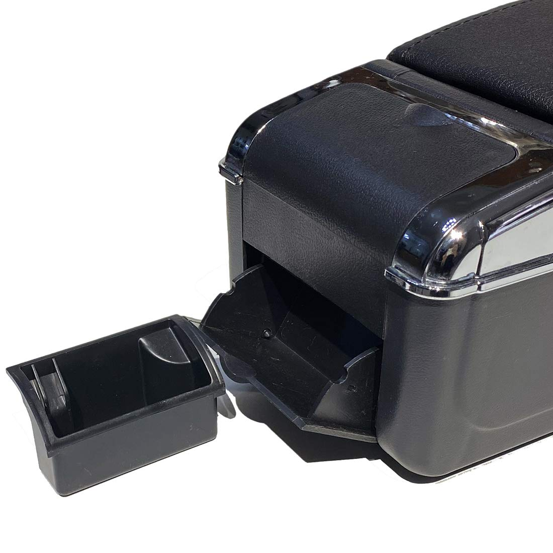 Coche Apoyabrazos para Polo 2002-2009 Doble Capa Caja de Almacenamiento de Consola Central Costuras Negras