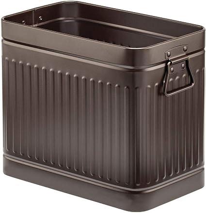 mDesign Bidone spazzatura rettangolare con manici la cucina o lufficio Pattumiera in metallo resistente alla ruggine Perfetto come contenitore raccolta differenziata per il bagno bronzo