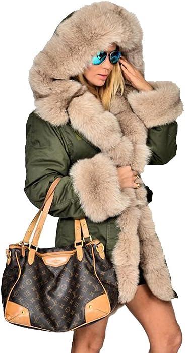 f337151a6da8 Roiii Womens Hooded Camouflage Warm Winter Coats Faux Fur Jacket Parka  Overcoat