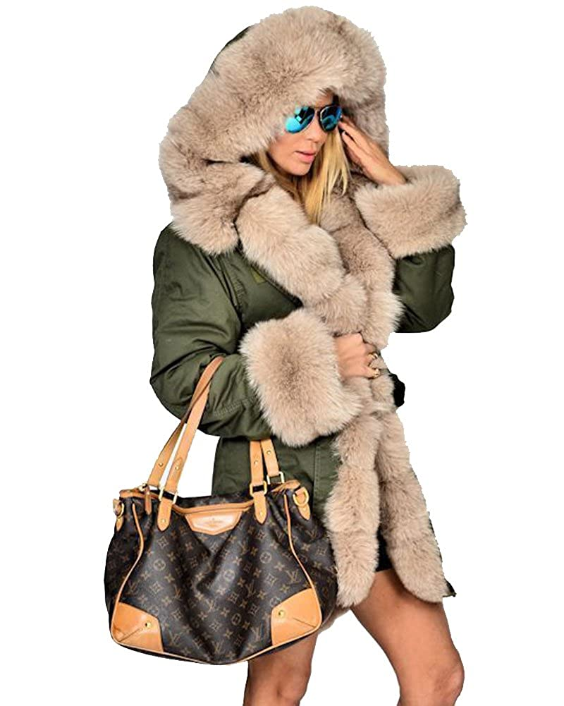 Roiii Women Winter Warm Thick Faux Fur Coat Outdoor Hood Parka Long Jacket Size 8-18 7010