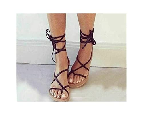 4362abb15fe2c Anieca Women Gladiator Sandals Flip Flops Strappy Faux Leather Lace ...