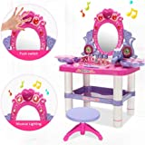 Baiwka Girls Dressing Table Play Set, Kids Dressing Table Set, Girls Mini Dressing Table With Mirror&Light&Music/Lipstick/Electric Hair Dryer Etc, Ideal Toy Gift For Girls(with Stool)