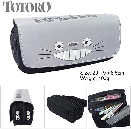 Mi Vecino Totoro Lápiz Monedero Anime Gran Capacidad Doble Cremallera Estuche Lápiz Chinchilla Estuche Lápiz Papelería Bolsa: Amazon.es: Oficina y papelería