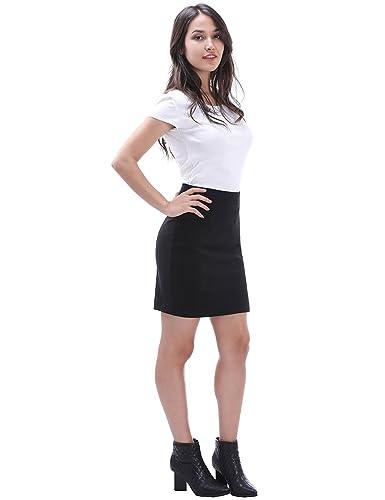 e7df56980 Queenromen Women's Back Split Mini Pencil Skirt Elegant Work Office Tube  Bodycon Skirts: Amazon.co.uk: Clothing