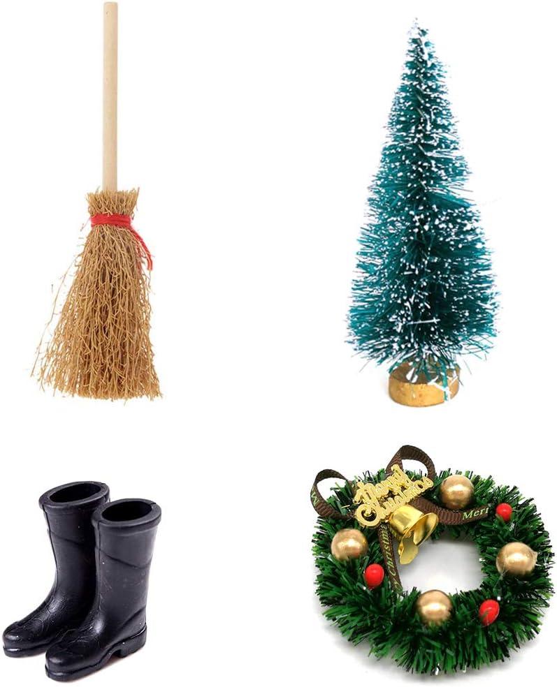 Apofly Puppenhaus Zubeh/öR 1:12Miniatur Deko d/änische Wichtel T/ür Wichtelt/ür Puppenhaus-Weihnachtskranz Besen Regen Stiefel Hoch Cedar Weihnachtsbaum Zubeh/ör Schwarz f/ür Dekoration