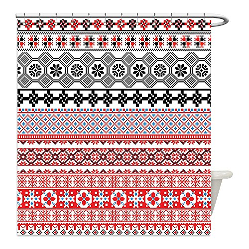 Mayan Costume Black Flag (Liguo88 Custom Waterproof Bathroom Shower Curtain Polyester Ancient Decor Ethnic Aztec Pattern with Abstract Mayan Authentic Folk Figures Artsy Image Red Black Decorative bathroom)