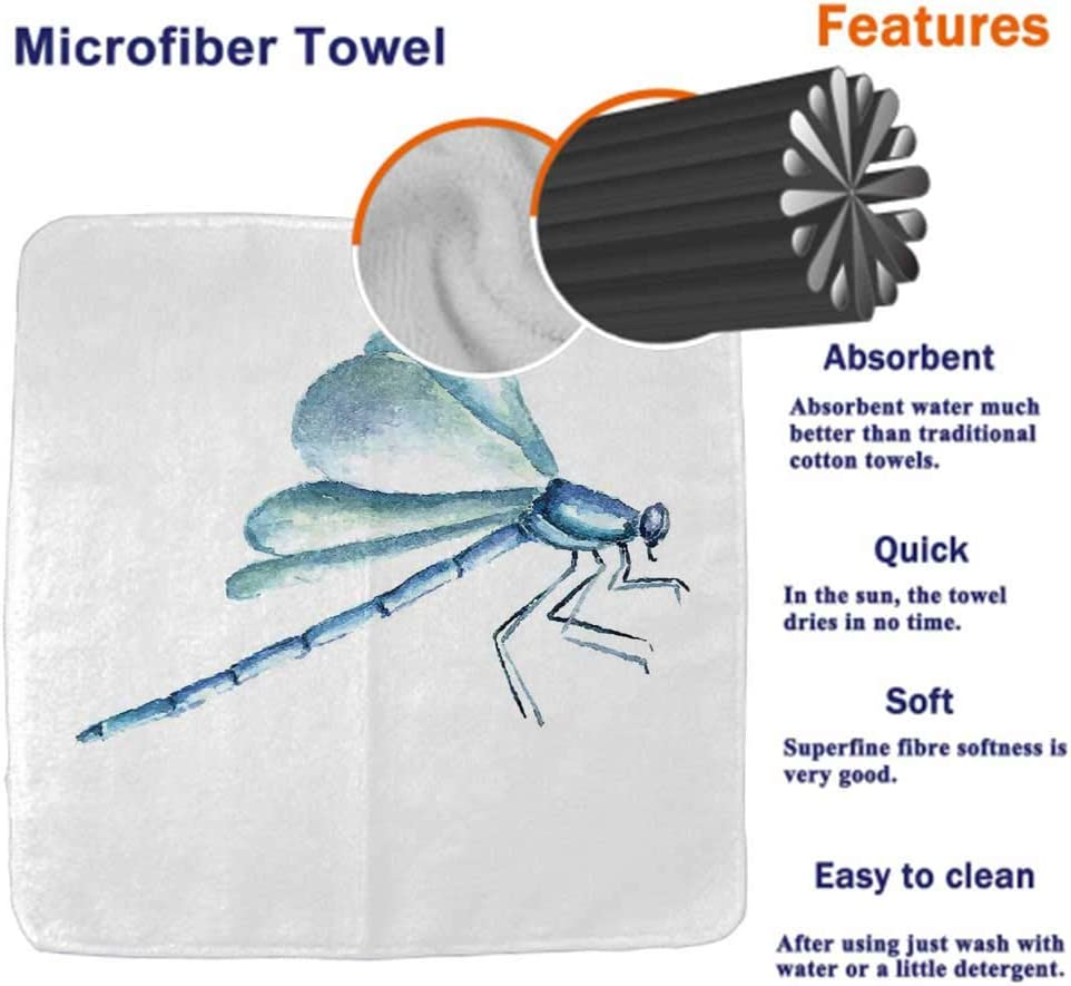 Face Quick-Dry Bath Towel Dragonfly Absorbent Hotel Bathroom Towel Exotic Dragonflies Flying in Cloud Sky Animal Wing Nature Illustration for Bath Gym and Spa Black Blue Light Pink (8x24) Hand