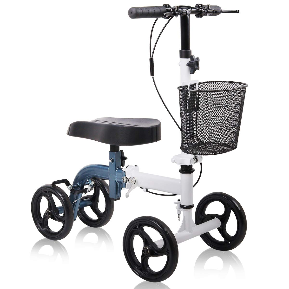 Give Me Knee Scooter - Ultra Compact & Portable Knee Walker Crutches Alternative with Basket in Metallic Blue by Give Me