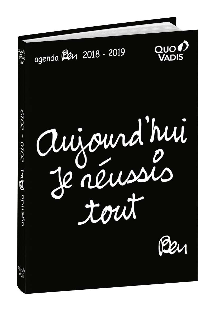 Quo Vadis 0291759Q Ben Textagenda Agenda scolaire Journalier Année 2018-2019 12 x 17 cm Noir