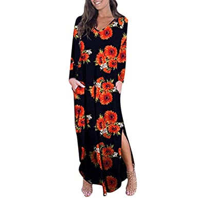 OPAKY Vestido Largo Floral Print Casual Verano para Noche Fiesta ...