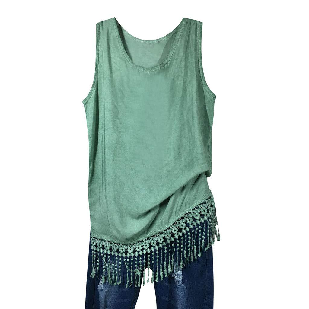 Clearnce Vest Tops,Women Casual Tank Tops Tassel Hem Sleeveless Tunic T Shirt for Women Flowy Summer Tops Green