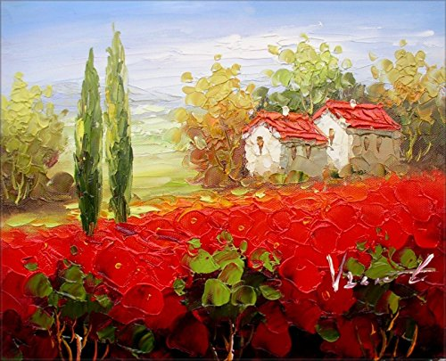 100% Hand Painted Tuscany Italy Poppy Field w/Cottages Canvas Oil Painting for Home Wall Art by Well Known Artist, Framed, Ready to Hang