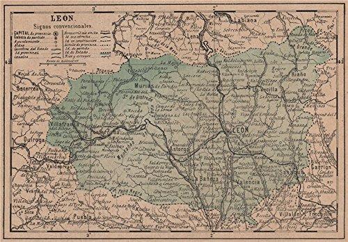 LEÓN. Leon. Castilla y León. Mapa antiguo de la provincia - 1908 - old map - antique map - vintage map - Spain maps ()