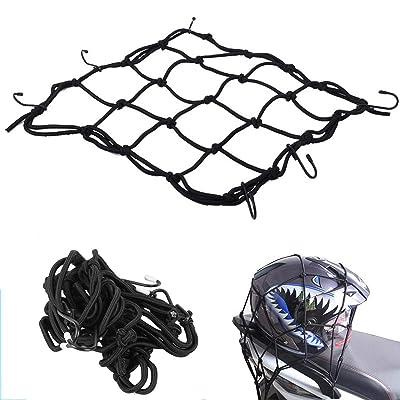 StyleZ Adjustable Heavy-Duty Bike Cargo Net Bungee Cord Storage Tie Down Luggage Net Motorcycle Helmet Mesh Net with 6 Hooks: Sports & Outdoors
