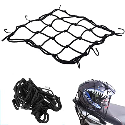 "Stretches to 35 6 Adjustable Iron Hooks 2Pcs Blue Sdootauto 12/"" x 12/"" Heavy Duty Cargo Net Motorcycles"